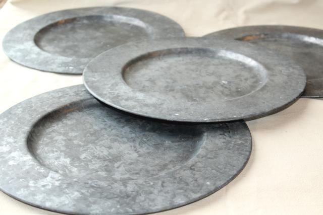 Fabulous vintage galvanized zinc metal charger plates, rustic country  EA27