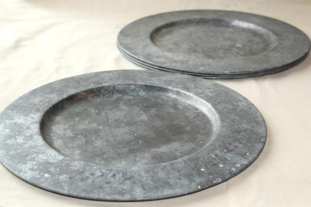 Vintage Galvanized Zinc Metal Charger Plates Rustic