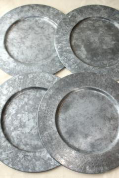 vintage galvanized zinc metal charger plates, rustic country farmhouse table ware