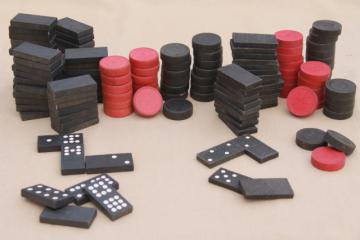 vintage game parts & pieces lot, wood domino tiles & worn wooden checkers