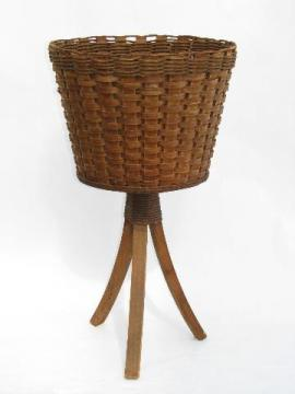 vintage garden, old wicker basket fern stand for jardiniere