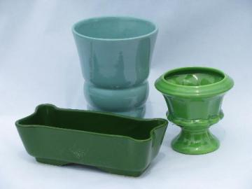vintage garden pottery pots & planters, mod shapes, retro green & blue