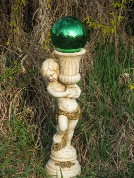 vintage garden sculpture stand for gazing ball, cherub statue w/ urn