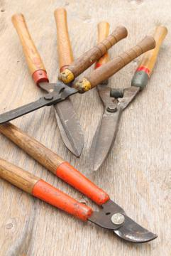 vintage garden tools, grass shears, clippers, pruning loppers w/ old wood handles