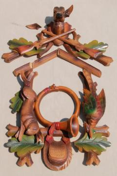 vintage german cuckoo clock parts, carved hunter top  w/ deer, rabbit & bird carvings