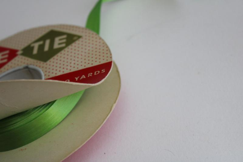 vintage gift wrap package tying ribbon & narrow lace, watermelon pink & green