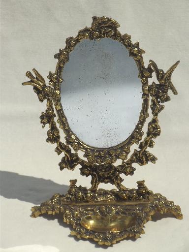 Vintage Gilt Brass Mirror Vanity Stand Ornate Fairy Tale Gold Oval