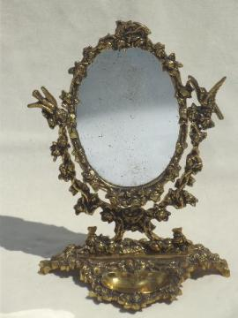 vintage gilt brass mirror vanity stand, ornate fairy tale gold oval frame