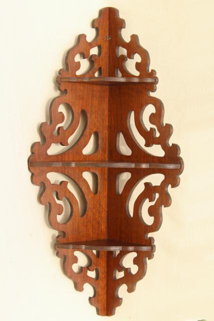 Vintage Gingerbread Scroll Fretwork Wood Corner Shelf