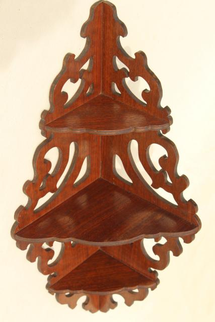 Vintage Gingerbread Scroll Fretwork Wood Corner Shelf
