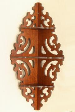 vintage gingerbread scroll fretwork wood corner shelf whatnot curio bracket