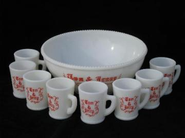 vintage glass Christmas punch bowl & cups set, for Tom & Jerry rum spiked eggnog