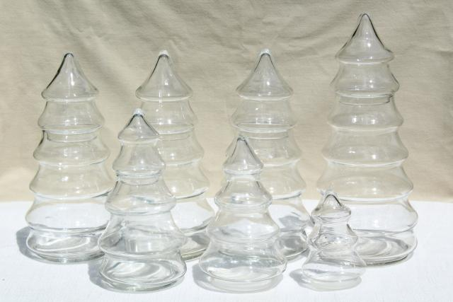 vintage glass Christmas tree canister jars, a candyland forest holiday candy bar display