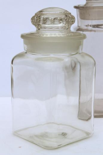 vintage glass apothecary jars, old store counter penny candy jar canisters
