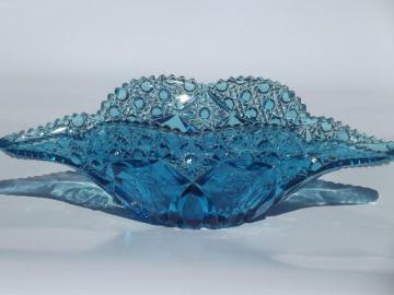 vintage glass banana boat / banana bowl, button & rose pattern glass in blue