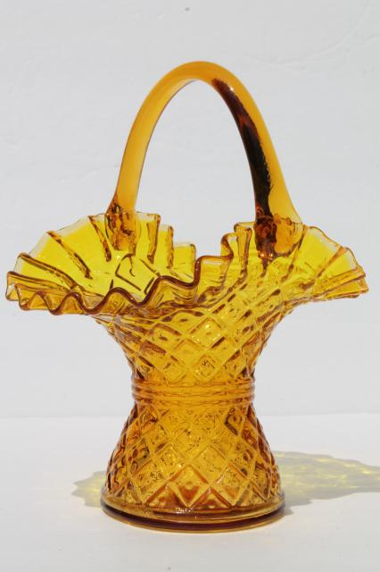 vintage glass basket flower vase, diamond thumbprint block waffle pattern glass in amber golden yellow