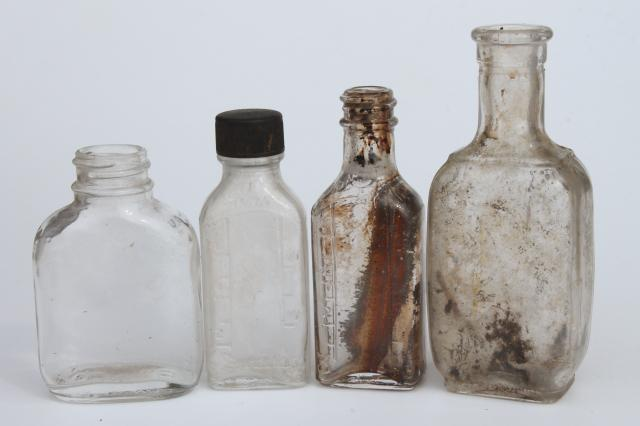 vintage glass bottle collection, as found old drugstore medicine pharmacy bottles