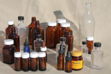 vintage glass bottle lot, drugstore medicine bottles & eyedropper bottles