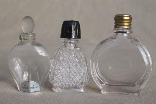 vintage glass bottles lot - cosmetic jars & perfume bottles, fancy old perfumes