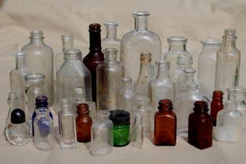vintage glass bottles lot, medicine bottles, ink bottles, household chemical bottles