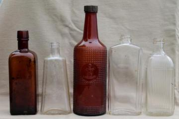 vintage glass bottles, patent medicine or distillery bottles, old whiskey bottle lot
