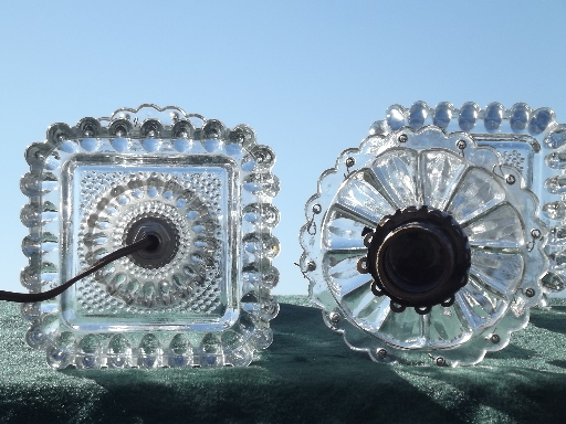 vintage glass boudoir lamps, mantle lamp set made for prisms or lusters