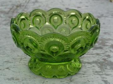 vintage glass bowl, green moon and stars