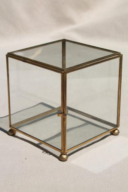 Glass Brass Box Showcase Cube Shaped Display Case Curio Cabinet