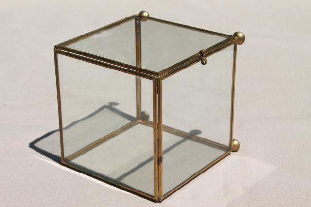 glass & brass box showcase, cube shaped display case / curio cabinet