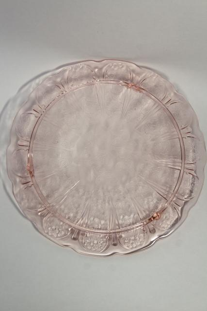 vintage glass cake plate, blush pink depression glass in cherry blossom pattern