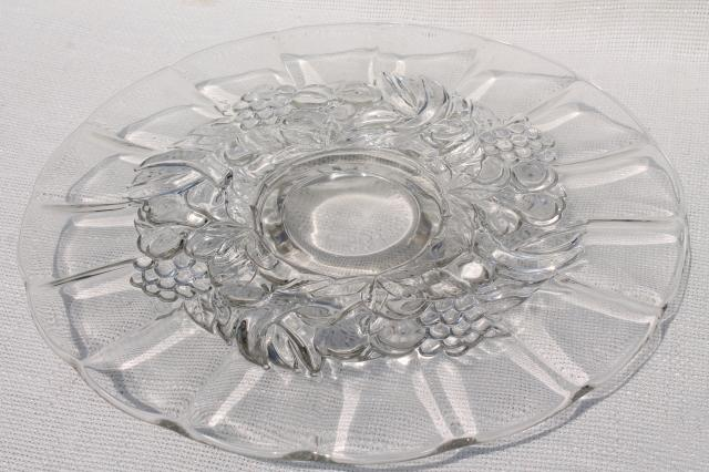 vintage glass cake stand, low footed plate or serving tray w/ della robbia fruit garland