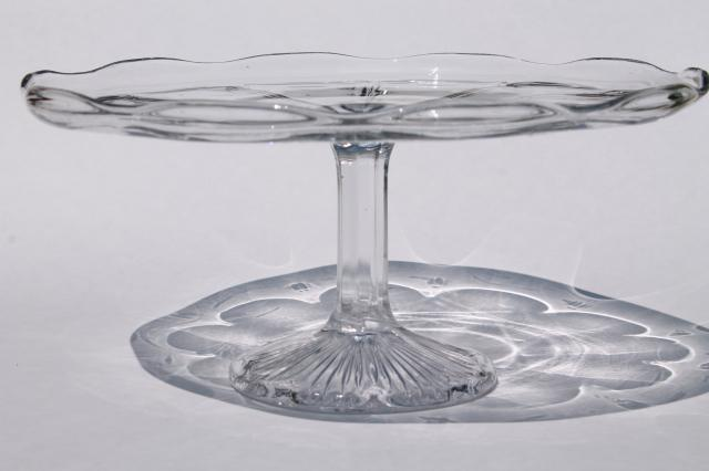 vintage glass cake stand tall cake pedestal plate colonial pattern pressed glass & vintage glass cake stand tall cake pedestal plate colonial pattern ...