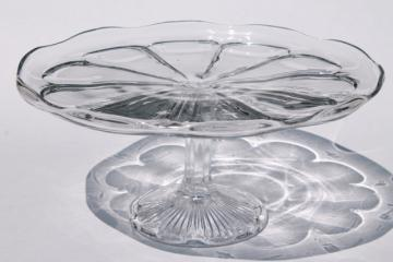 vintage glass cake stand, tall cake pedestal plate colonial pattern pressed glass