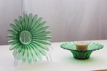 vintage glass candle holders for votive candles or tea lights, forest green flowers