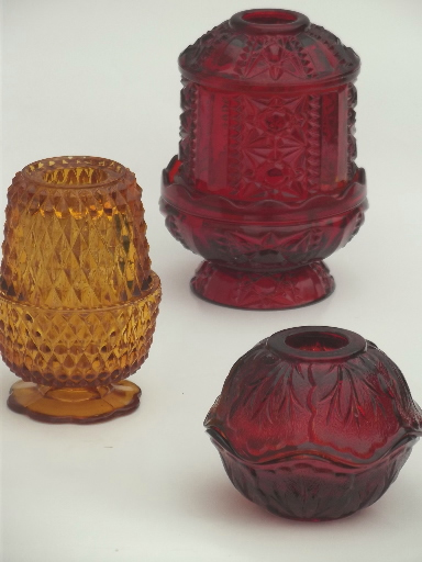 vintage glass candle lamps, amber glass & ruby red fairy light lanterns