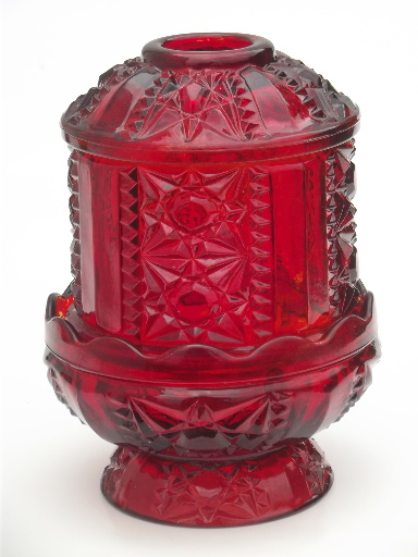 Vintage Glass Candle Lamps Amber Glass Amp Ruby Red Fairy