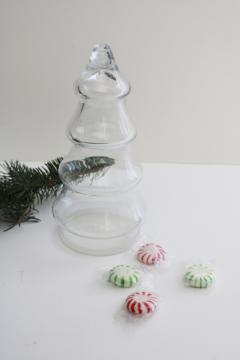 vintage glass candy container jar Christmas tree figural bottle w/ plastic lid base