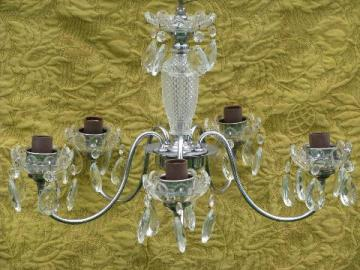 vintage glass chandelier, deco silver chrome w/ teardrop prisms