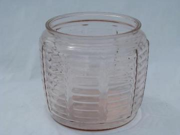 vintage glass cookie canister jar, old depression pink color