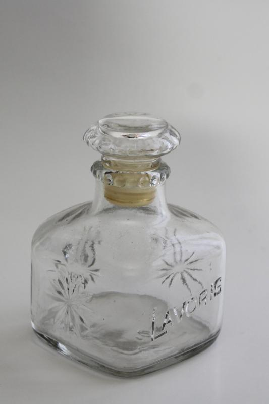 vintage glass decanter embossed Lavoris, old mouthwash medicine bottle