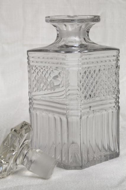 Vintage Glass Decanters Etched Glass Gin Decanter Old Liquor