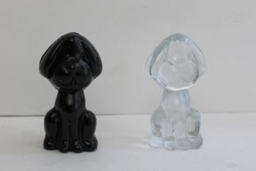 vintage glass dog figurines, funny floppy ears snoopy hounds black & clear glass