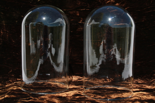 vintage glass dome cloches, pair of new old stock bell jars for antique displays