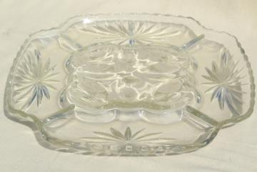 vintage glass egg plate, crystal clear square tray w/ pressed star pattern glass