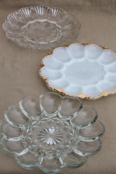 vintage glass egg plates, clear glass deviled egg trays, milk glass divided egg plate