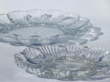 vintage glass egg plates, divided serving trays for deviled eggs