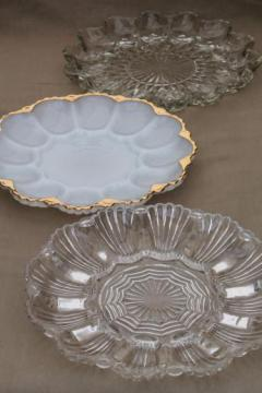 vintage glass egg plates for deviled eggs, milk glass & clear glass egg plate trays
