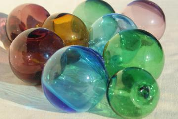 vintage glass fishing net floats, hand blown glass balls, blue green amber amethyst colored glass