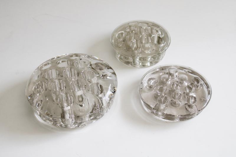vintage glass flower frogs, planter or vase inserts, holders for floral arrangements