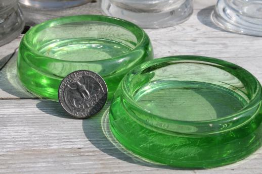 vintage glass furniture coasters sliders, green depression & clear glass